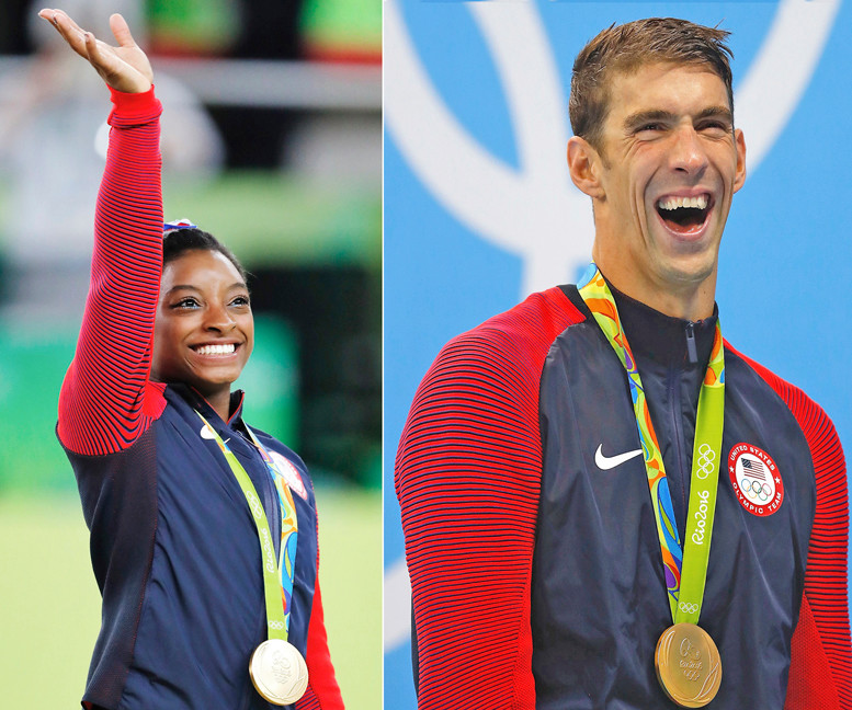 From left, Simone Biles and Michael Phelps are the United States Sports Academy Athletes of the Year for 2016.