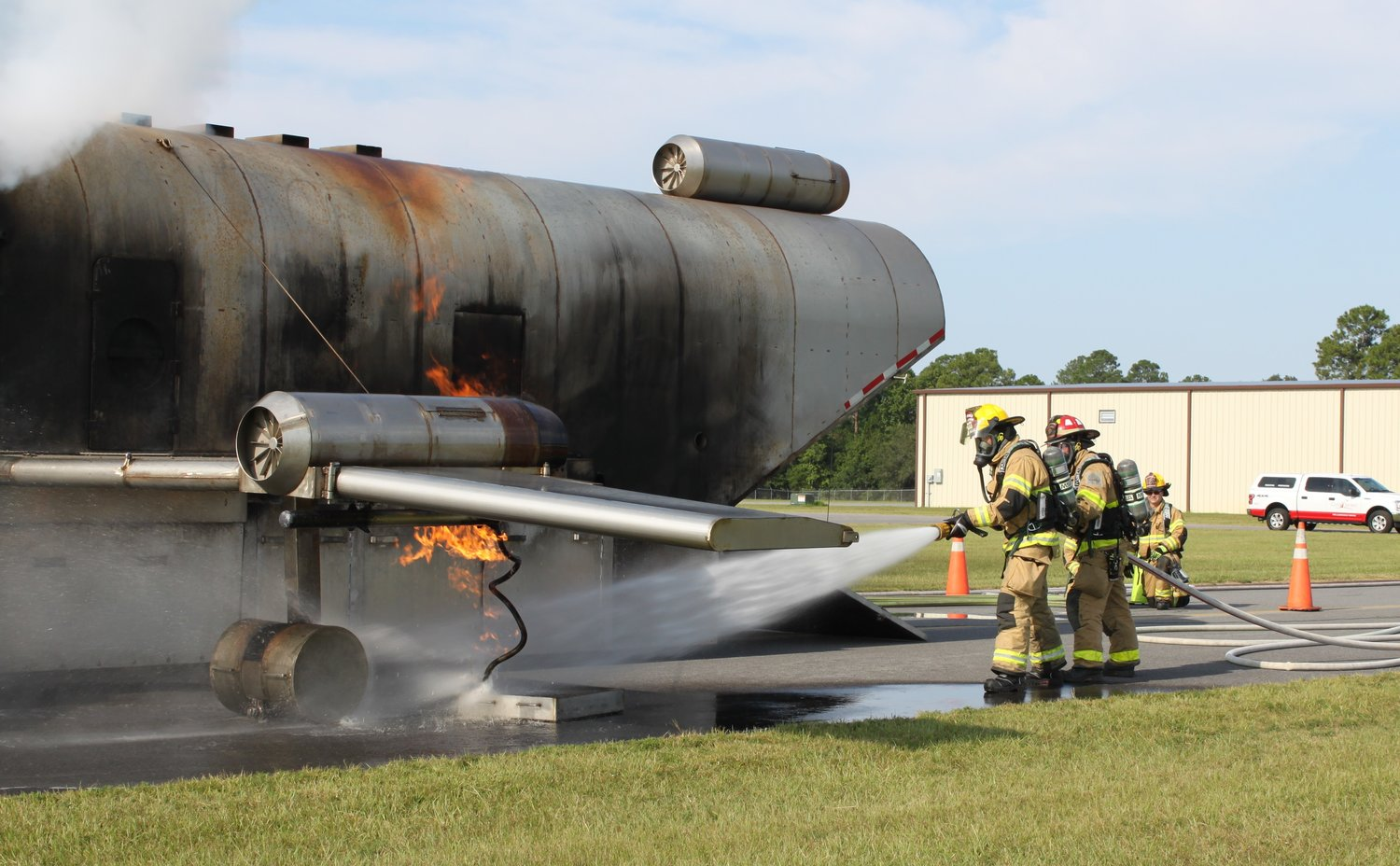 Gulf Shores Fire crews practice engine leak fire scenario complete with tire explosion sound effect.