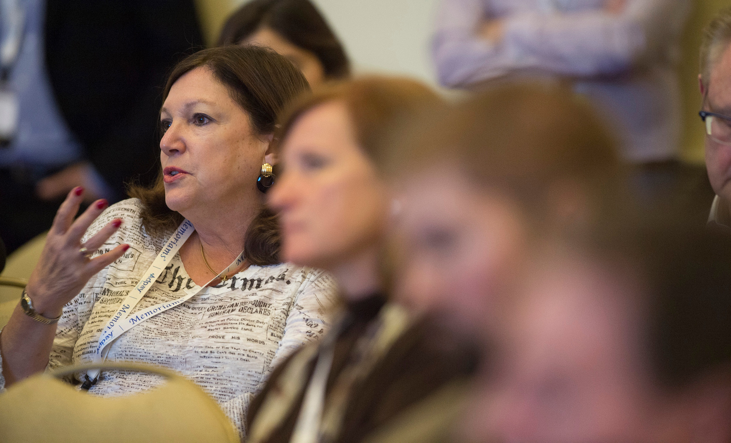 Deb  Dreyfus-Tuchman of AdPay takes in the NextTech session Sunday at the 131st Annual Meeting of Inland Press Association.