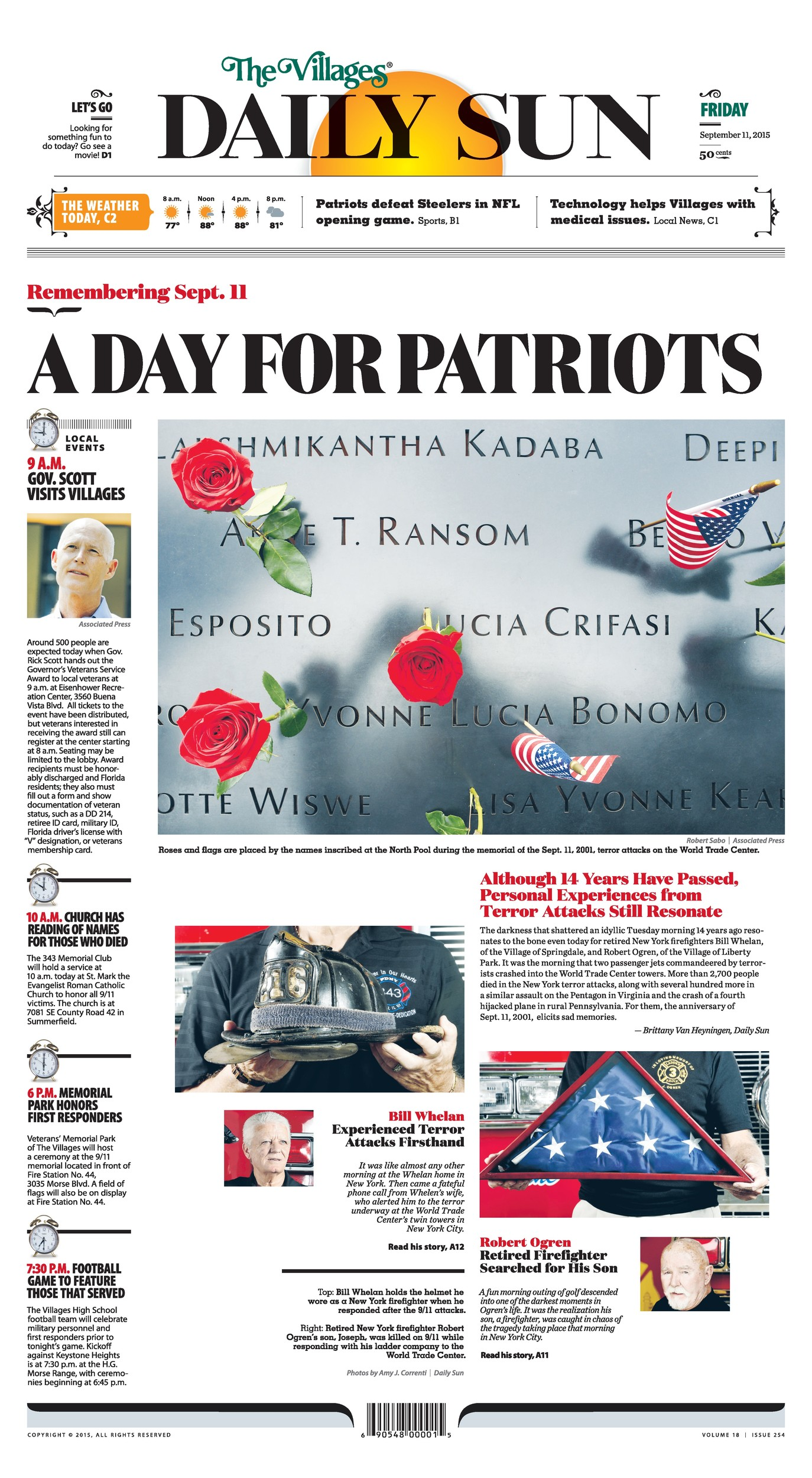 "The Villages (Fla.) Daily Sun's ""A Day for Patriots"" was chosen for first place in Picture Use."