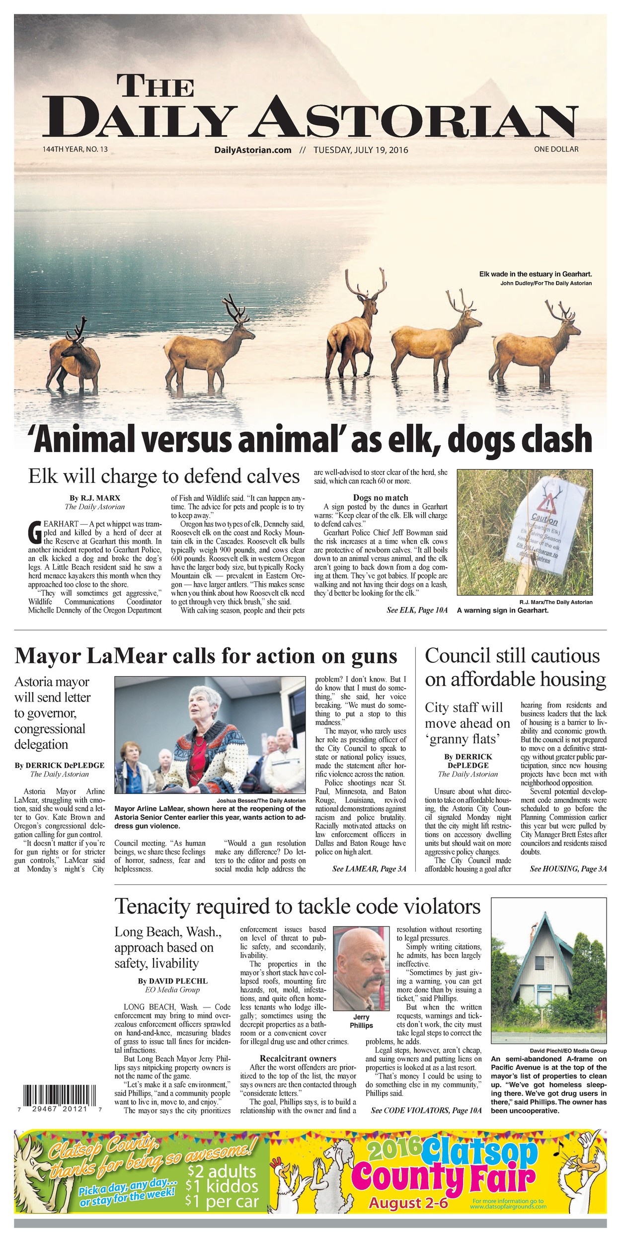 The Daily Astorian in Astoria, Oregon, took first place in its circulation category in the Front Page contest. Judges praised its mix of good writing, tight headlines and the high-quality visual approach of its front pages.