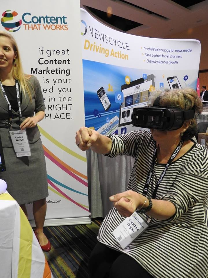 A custom virtual reality experience at the Content That Works booth.