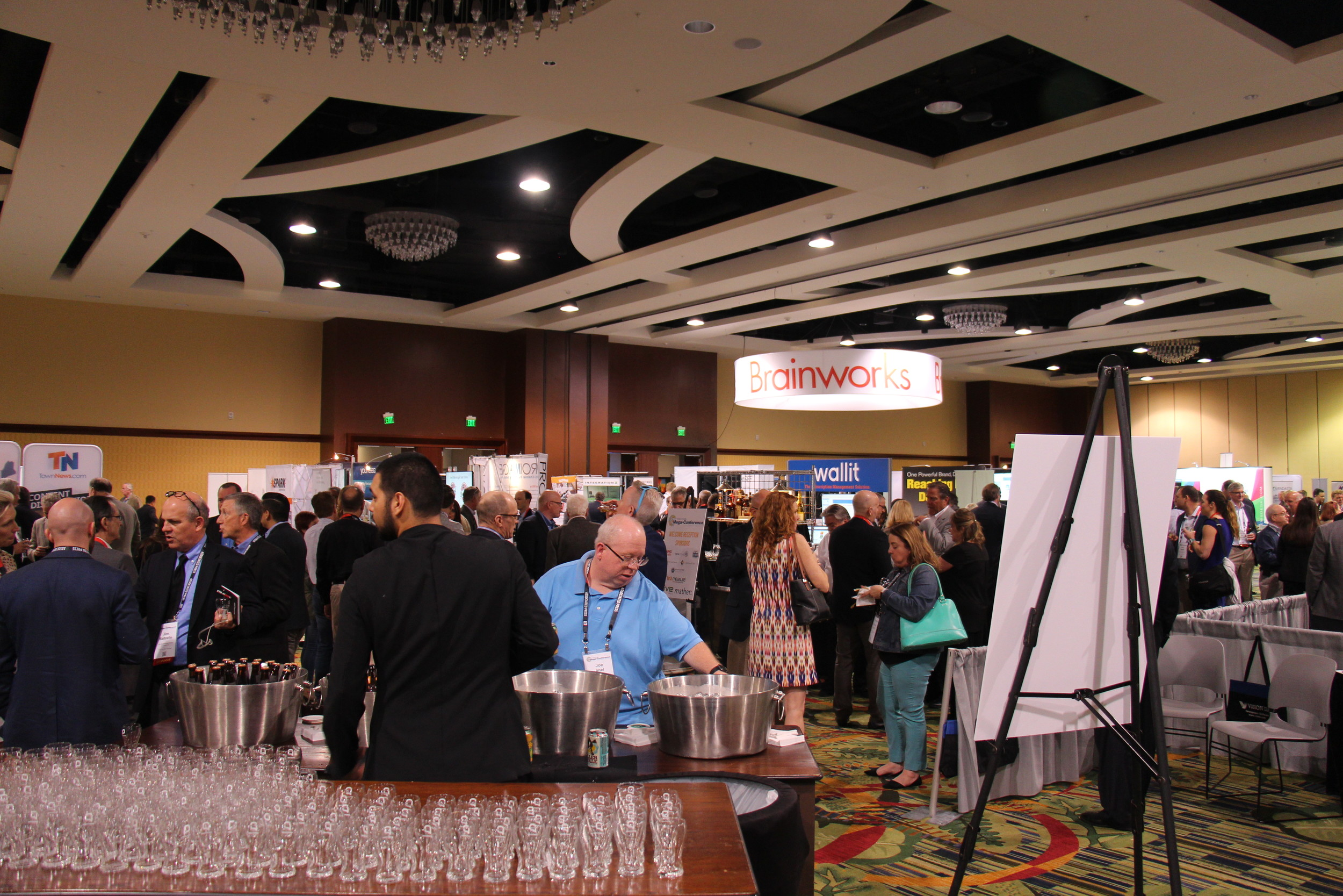 Industry vendors on tap in Orlando. A craft beer tasting was part of the welcome reception in the Exhibit Hall at the Key Executives Mega-Conference, which attracted 90 exhibitors.