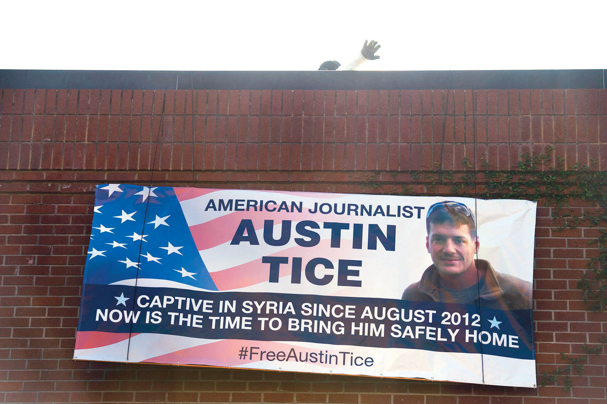 McClatchy Co. displayed a banner Monday outside its corporate headquarters at The Sacramento Bee to honor kidnapped newsman Austin Tice and draw attention to his plight Monday, August 14, 2017 in Sacramento, Calif.