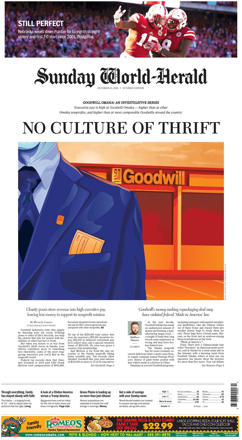 This bold design, showcasing the first in an investigative series of articles about Goodwill Industries' Omaha branch, won first place for the Omaha World-Herald in the largest circulation category