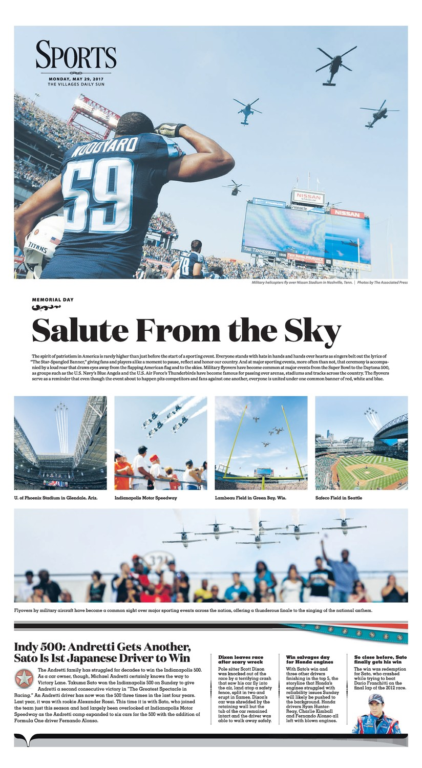 Photographer Adam Rogers took first place for these shots for a layout on a Memorial Day football game and flyover that appeared in The Villages Daily Sun.