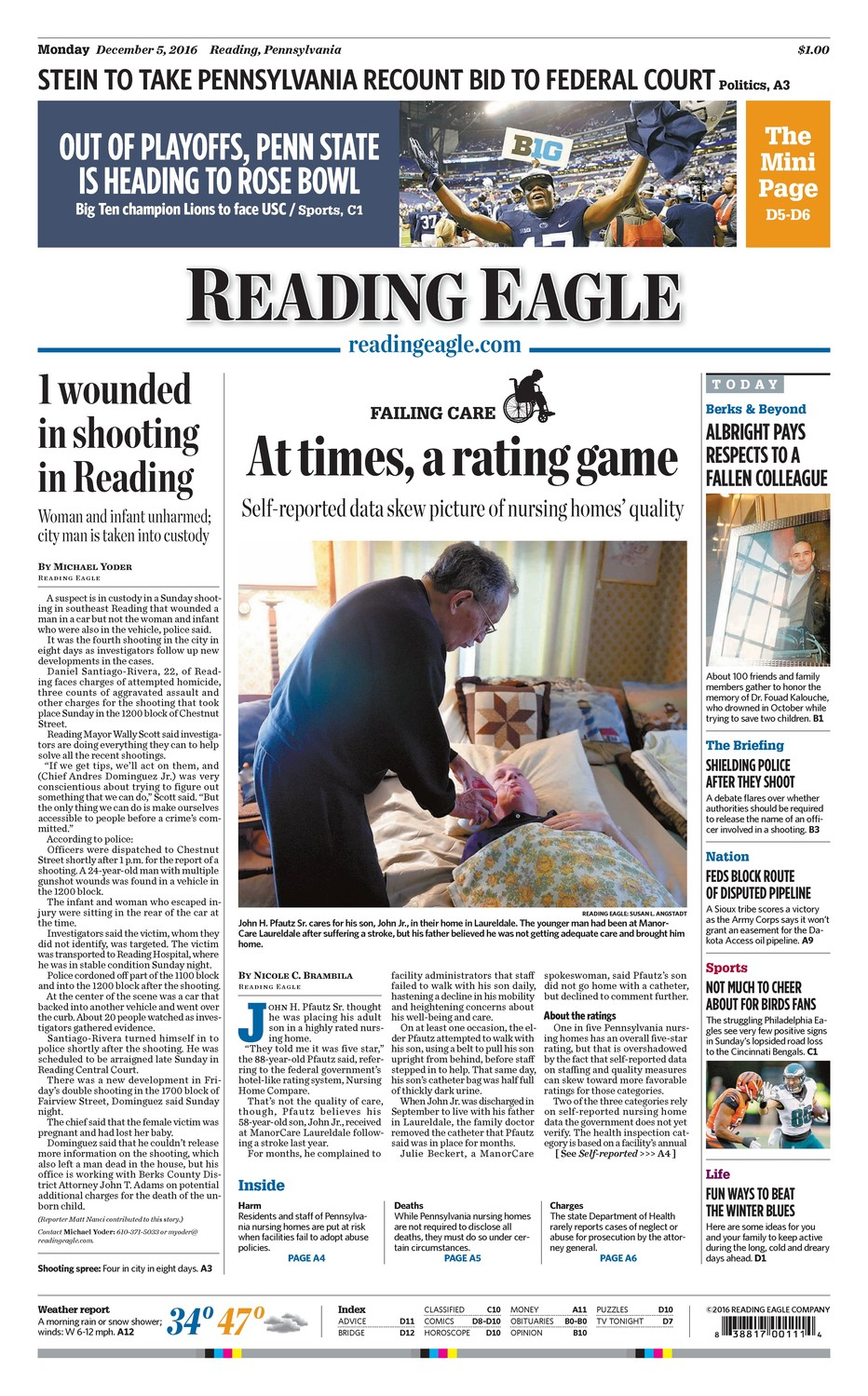 "Reporters Nicole C. Brambila and Matthew Nojiri of the Reading (Pa.) Eagle were awarded first place in their circulation category for ""Failing care,"" a investigation into Pennsylvania nursing homes."