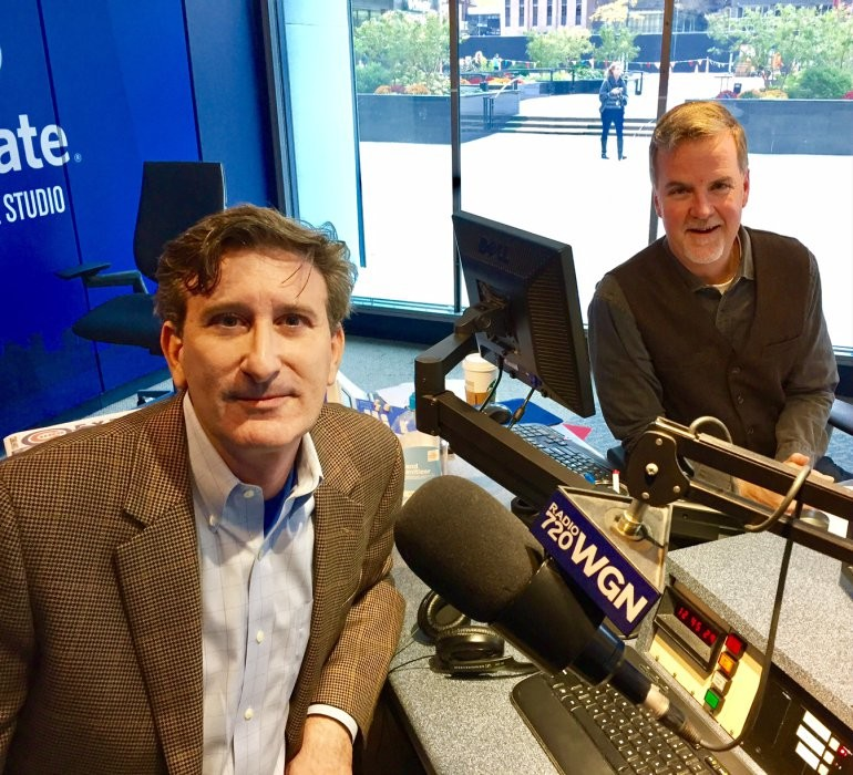 Seyfarth Shaw LLP attorney Phillipe Weiss (right) is interviewed by WGN-AM radio host Steve Bertrand about workplace legal issues.