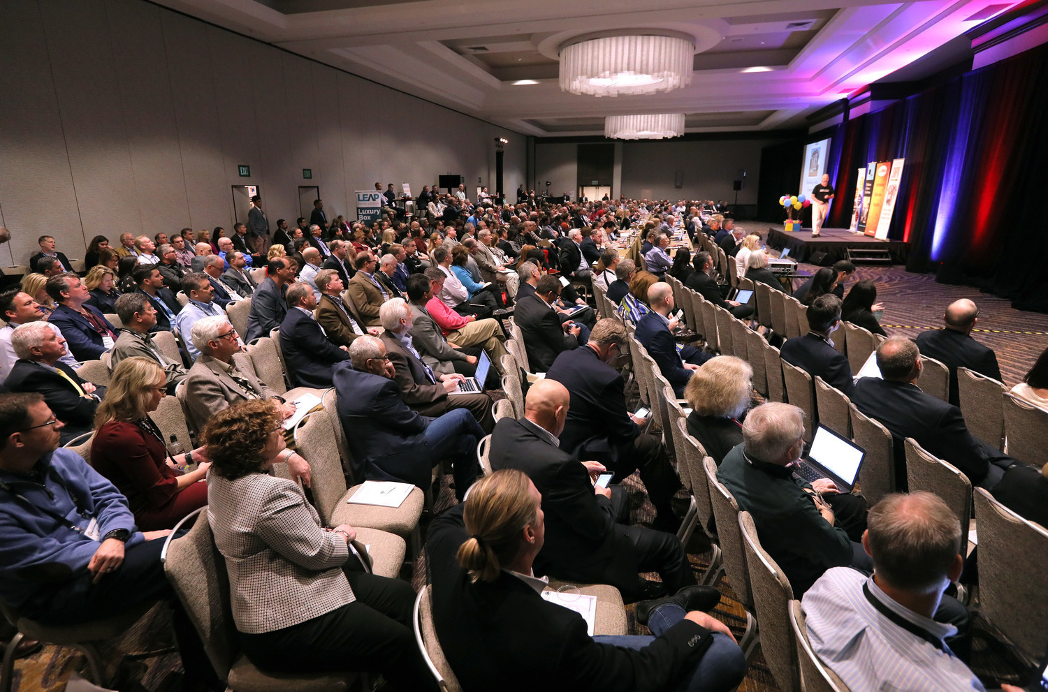 Media industry executives filled the big conference halls at the Manchester Grand Hyatt in San Diego.