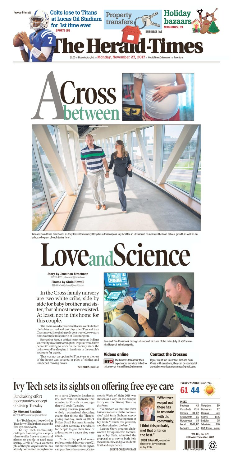 "A young couple's struggle with infertility and the birth of their twins was the theme of ""A Cross Between Love and Science,"" which won first place in Picture Story for The Herald-Times in Bloomington, Indiana."