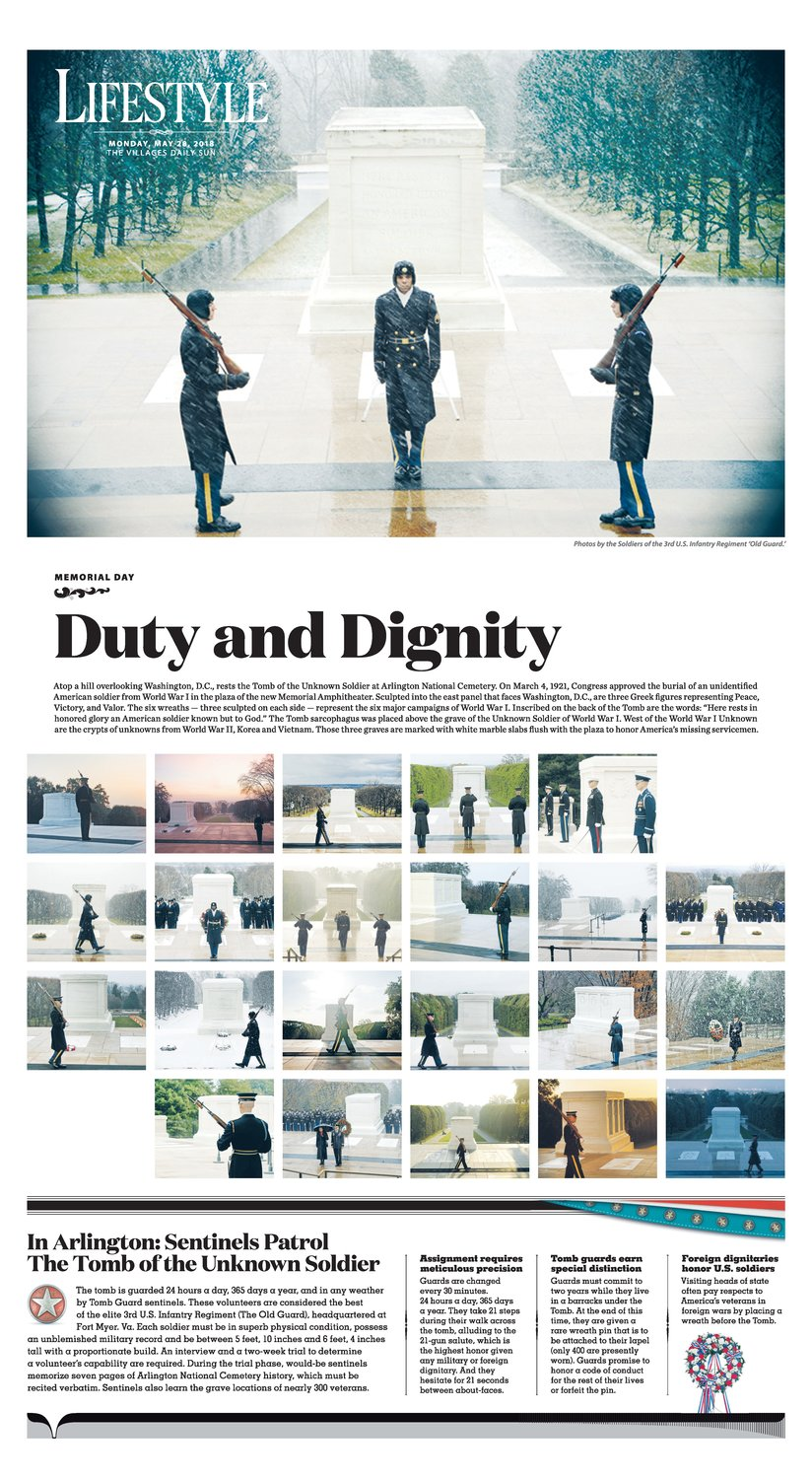 The Villages (Florida) Daily Sun placed first in Picture Use—Features in the News Photo Contest for this photo display of the routine of guards at The Tomb of the Unknown Soldier.