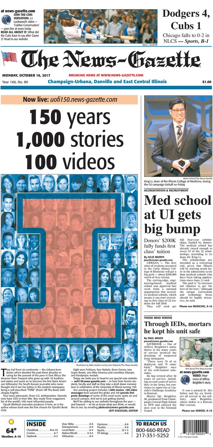 The News-Gazette of Champaign-Urbana, Illinois, celebrated the 150th anniversary of the University of Illinois with an ambitious multimedia project