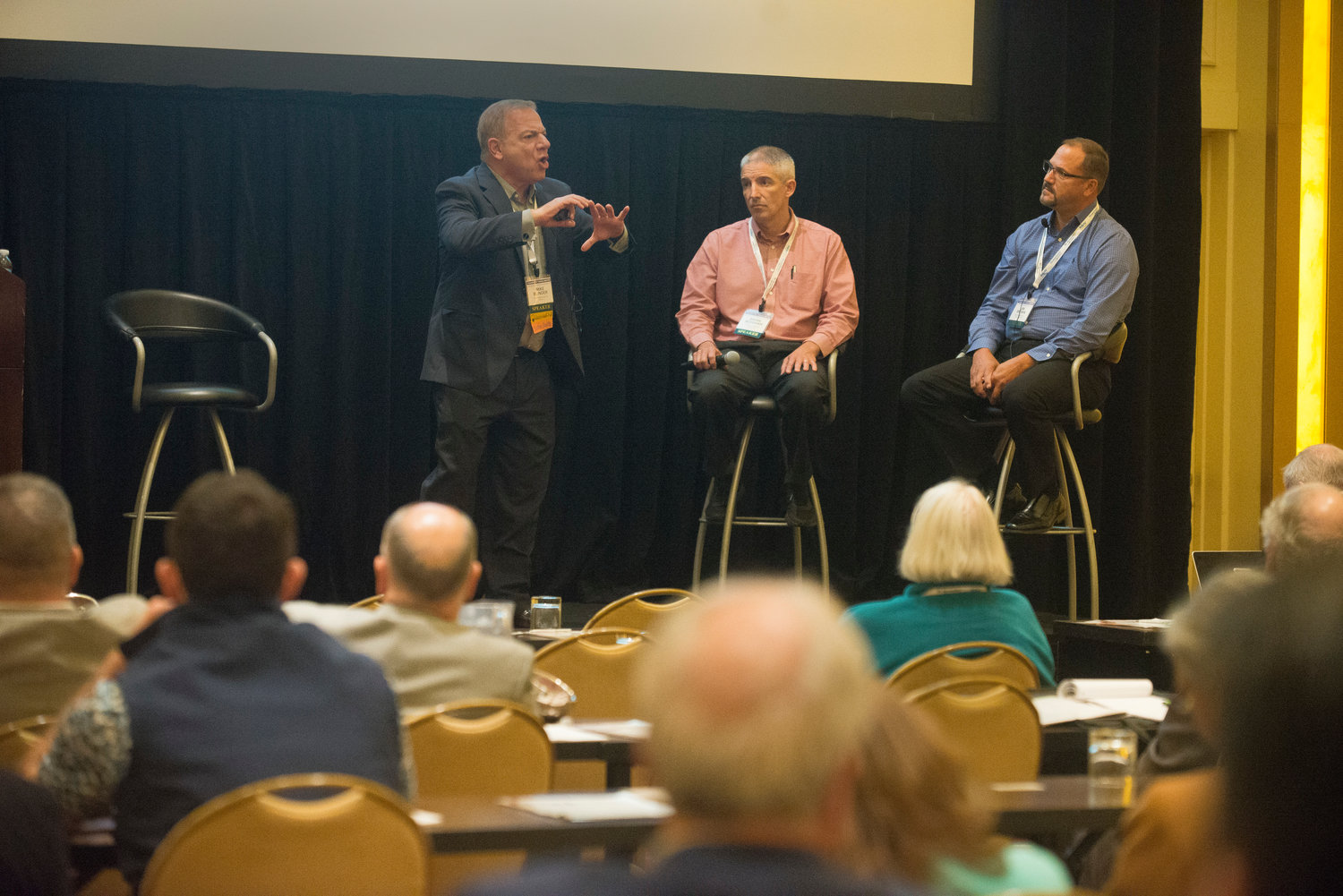 At a panel on winning back real estate advertising, Mike Blinder of The Blinder Group, left, leads the discussion with Brian Monihan, vice president and publisher at Pamplin Media, and Jim Brown, vice president, sales and marketing for Borrell Associates.
