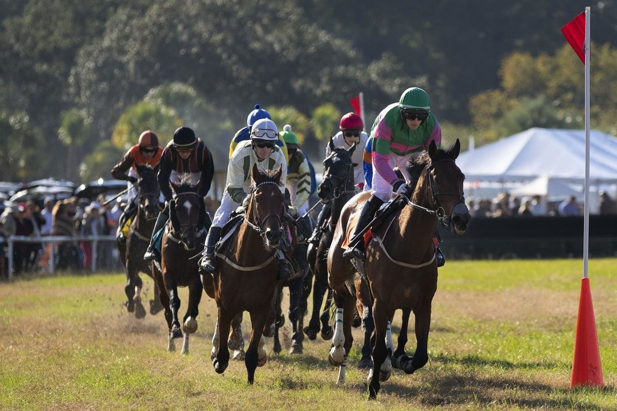 Jockeys and their horses race for the finish in the Steeplechase of Charleston at Stono Ferry on Sunday, 