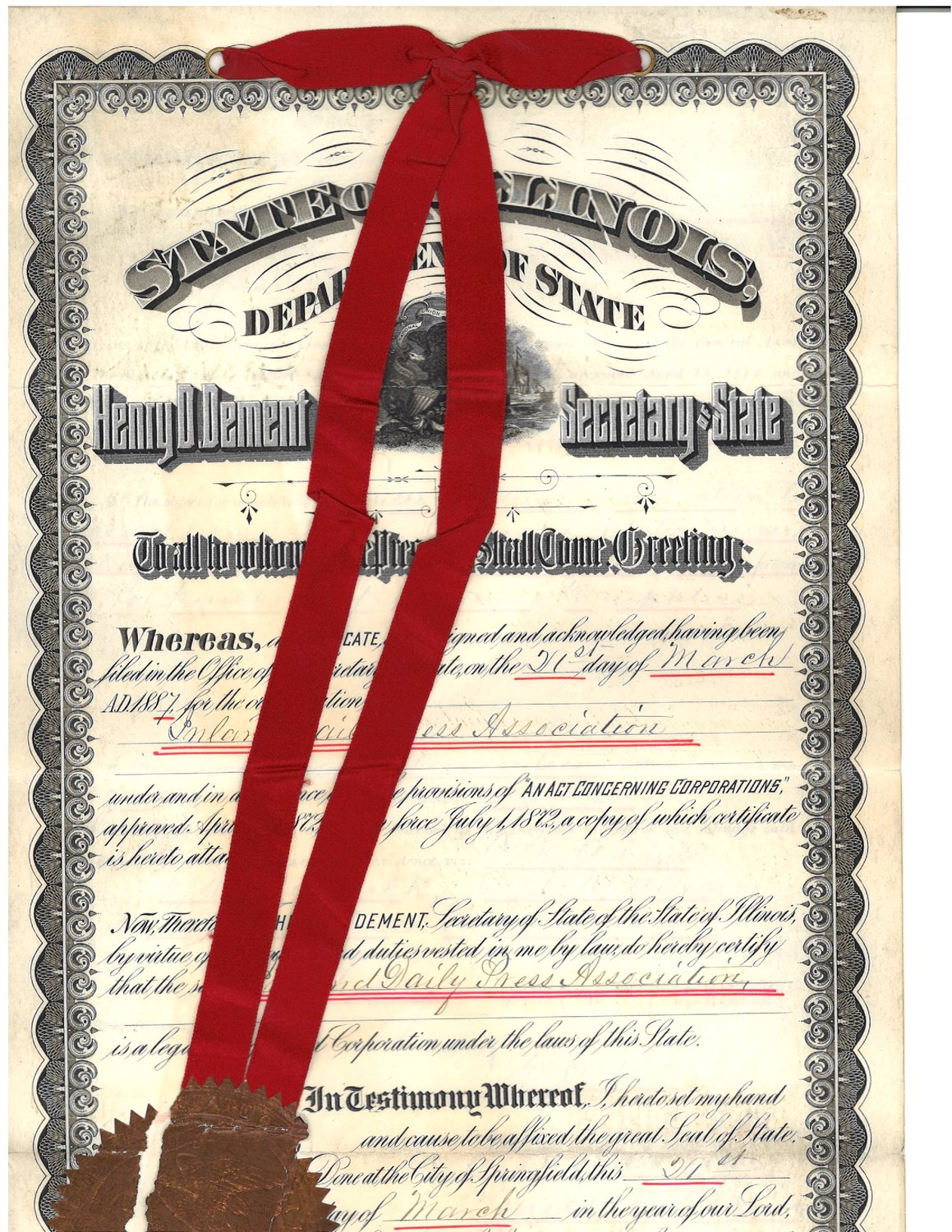 "Among the artifacts unearthed during spring cleaning at Inland's headquarters in suburban Chicago is an the official incorporation document for the ""Inland Daily Press Association"" from Illinois Secretary of State dated March 21, 1887, two years after 19 Midwest publishers held the associations first organizing meeting in Chicago."