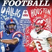 The secondary cover of Dave Campbell's Texas Football magazine features Duncanville (left) and North Shore (right) as the newest chapter of the Dallas-Houston rivalry.