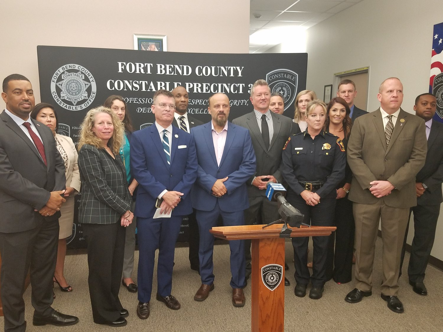 "Representatives from local, state, federal, national and nonprofit organizations discuss ""Operation Freedom"" at Fort Bend County Constable's Office Precinct 3."
