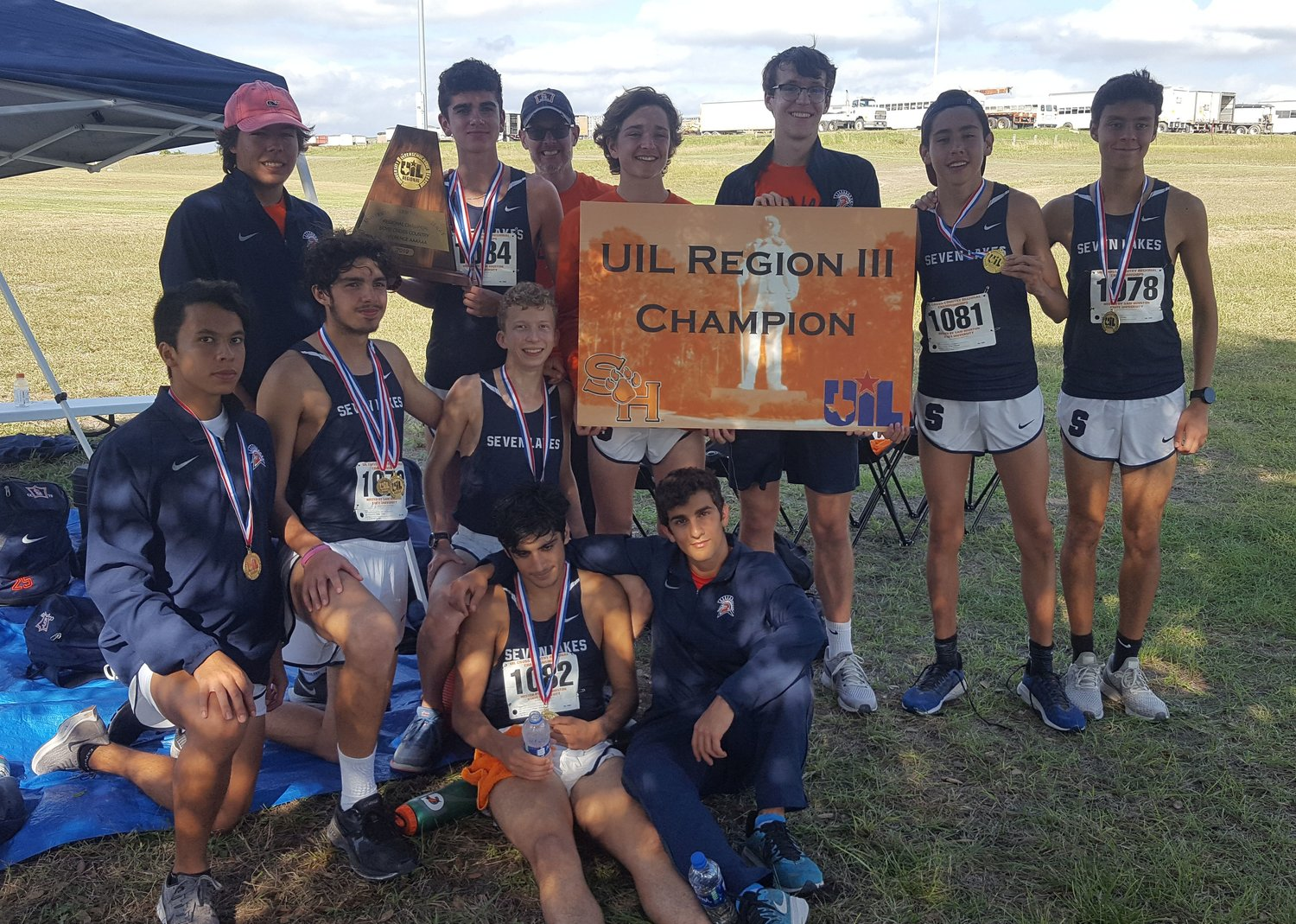 Seven Lakes boys: Front row: Juan Royo and Jad Wardeh. Middle row: Javier Pineros, Corbin Brescher and Spencer Seale. Back row: Michael Huff, Carson Slater, head coach Scott Kenney, Peyton Hannah, Ryan Caffrey, Ruben Rojas and Fernando Hernandez.