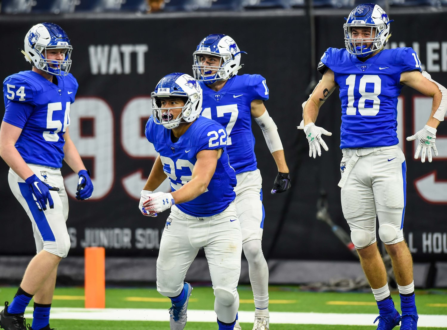 Houston, Tx. Dec 7, 2019: Taylor's Casey Shorter (22) after his TD run TD during the Regional Finals playoff game between Katy Taylor and Cy-Creek at NRG Stadium in Houston. (Photo by Mark Goodman / Katy Times)
