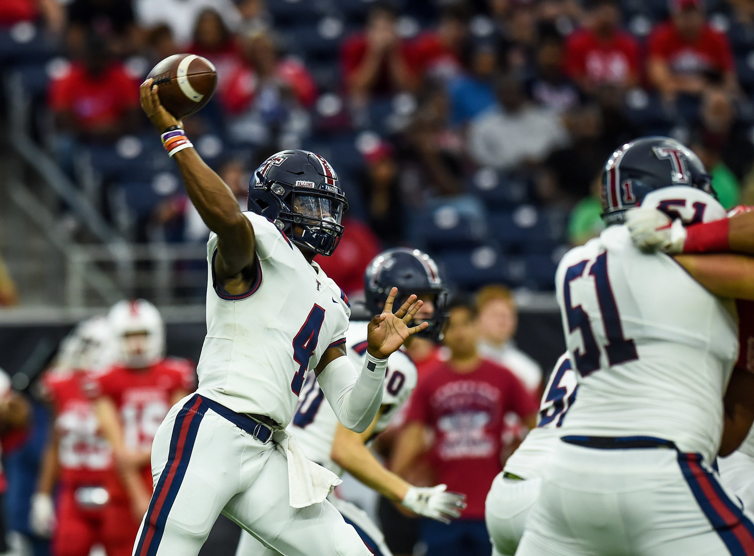 Houston, Tx. Nov. 30, 2019: Tompkins QB Jalen Milroe (4) delivers a pass during the regional playoff game between Tompkins Falcons and Atascocita Eagles at NRG Stadium in Houston. (Photo by Mark Goodman / Katy Times)