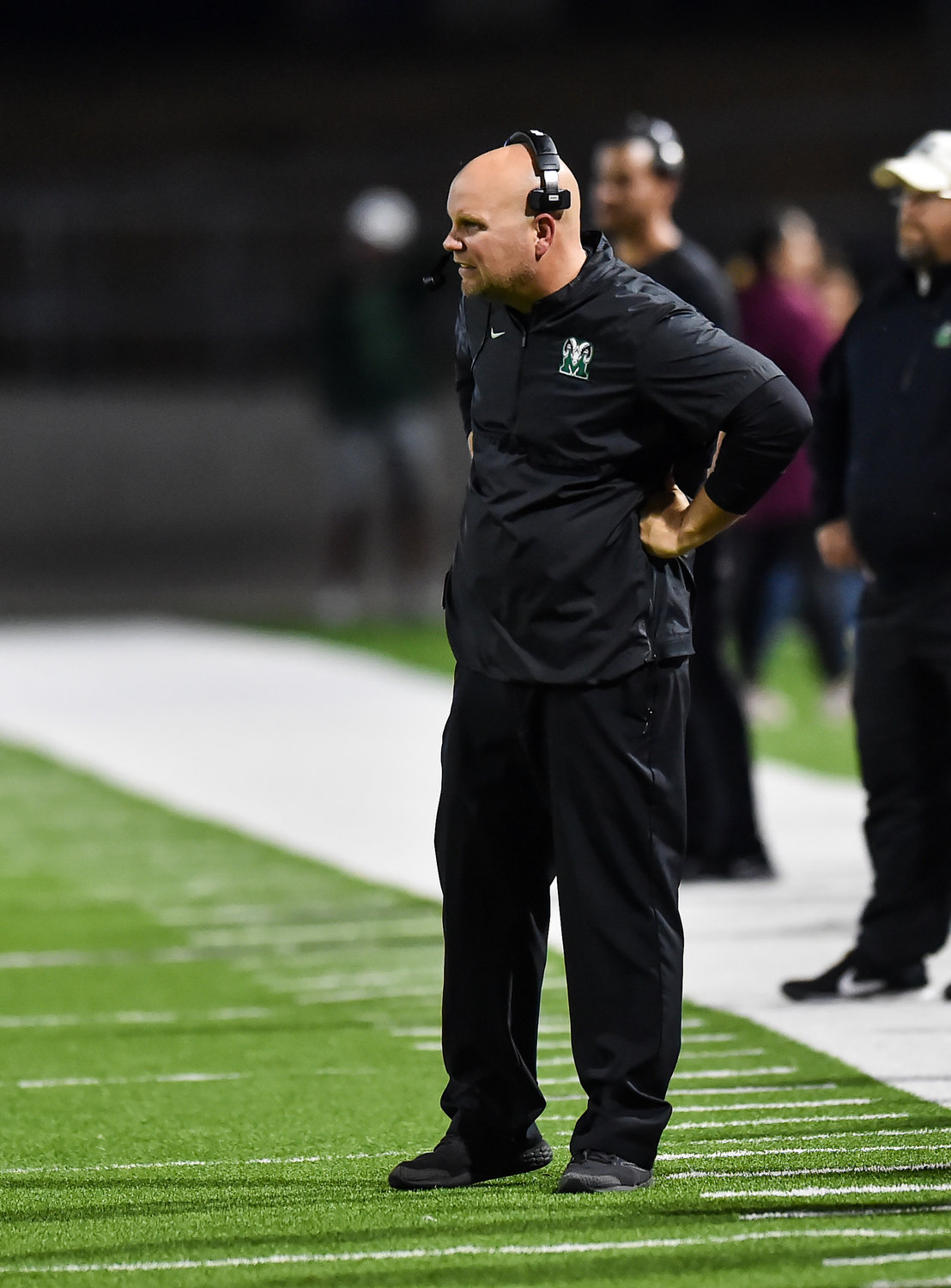 Cypress, Tx. Nov. 21, 2019: Mayde Creeks head coach Mike Rabe looks on as he see's his Rams football teams season coming to an end during the area playoff game between Mayde Creek and Cypress Creek at Pridgeon Stadium. (Photo by Mark Goodman / Katy Times)