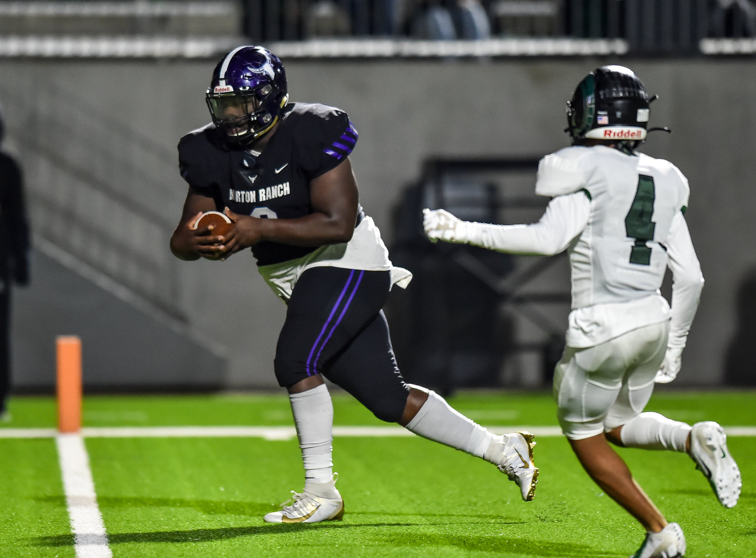 Katy, Tx. Nov. 8, 2019: Morton Ranch's Brandon Brown (9) makes the reception on a fake field goal pulling the Mavericks to with one point just before halftime during a conference game between Morton Ranch Mavericks and Mayde Creek Rams at Legacy Stadium. (Photo by Mark Goodman / Katy Times)