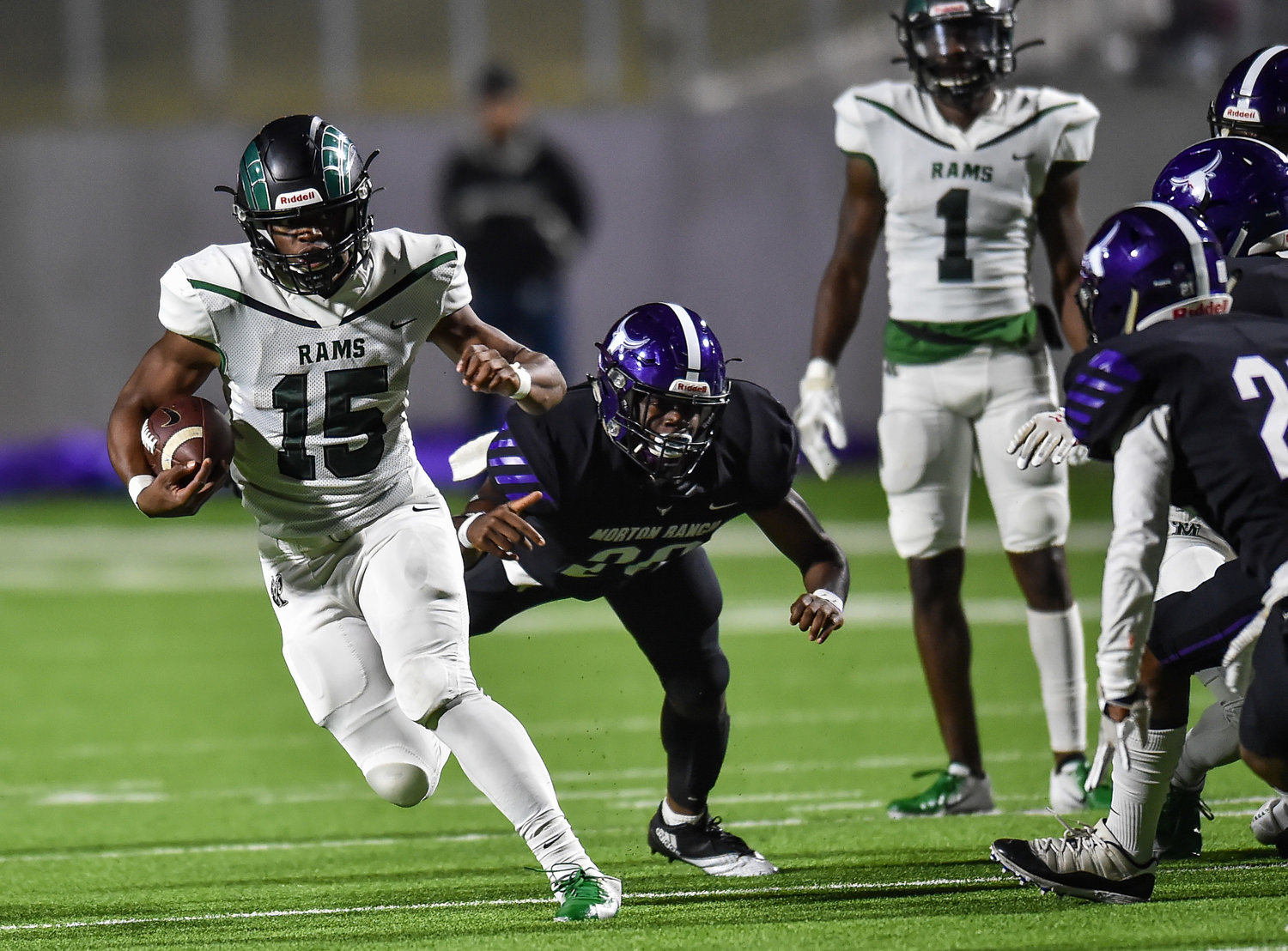 Katy, Tx. Nov. 8, 2019: Mayde Creek's Julius Loughridge (15) carries the ball during a conference game between Morton Ranch Mavericks and Mayde Creek Rams at Legacy Stadium. (Photo by Mark Goodman / Katy Times)