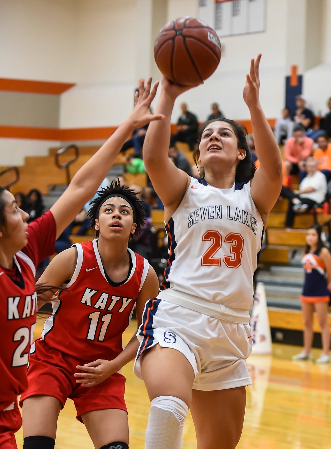 Katy Tx. Jan. 7, 2020: Seven Lakes Daniela Alzate (23) drives to the basket during district basketball game between Katy Tigers and Seven Lakes Spartans at Seven Lakes HS.  (Photo by Mark Goodman / Katy Times)