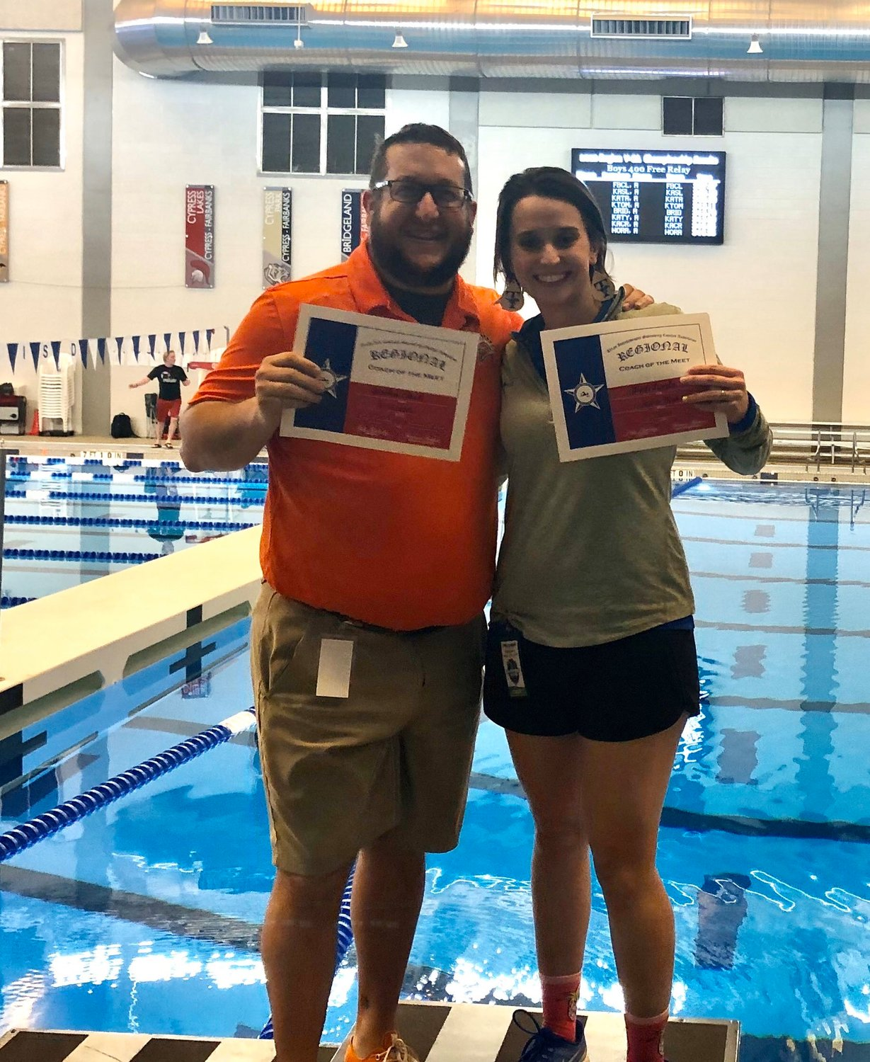 Seven Lakes' Jordan Beck and Taylor assistant coach Jessica Mixon, representing head coach Matt Apple, were named Coaches of the Meet at the Region V-6A swimming championships on Saturday, Feb. 1, in Cypress.