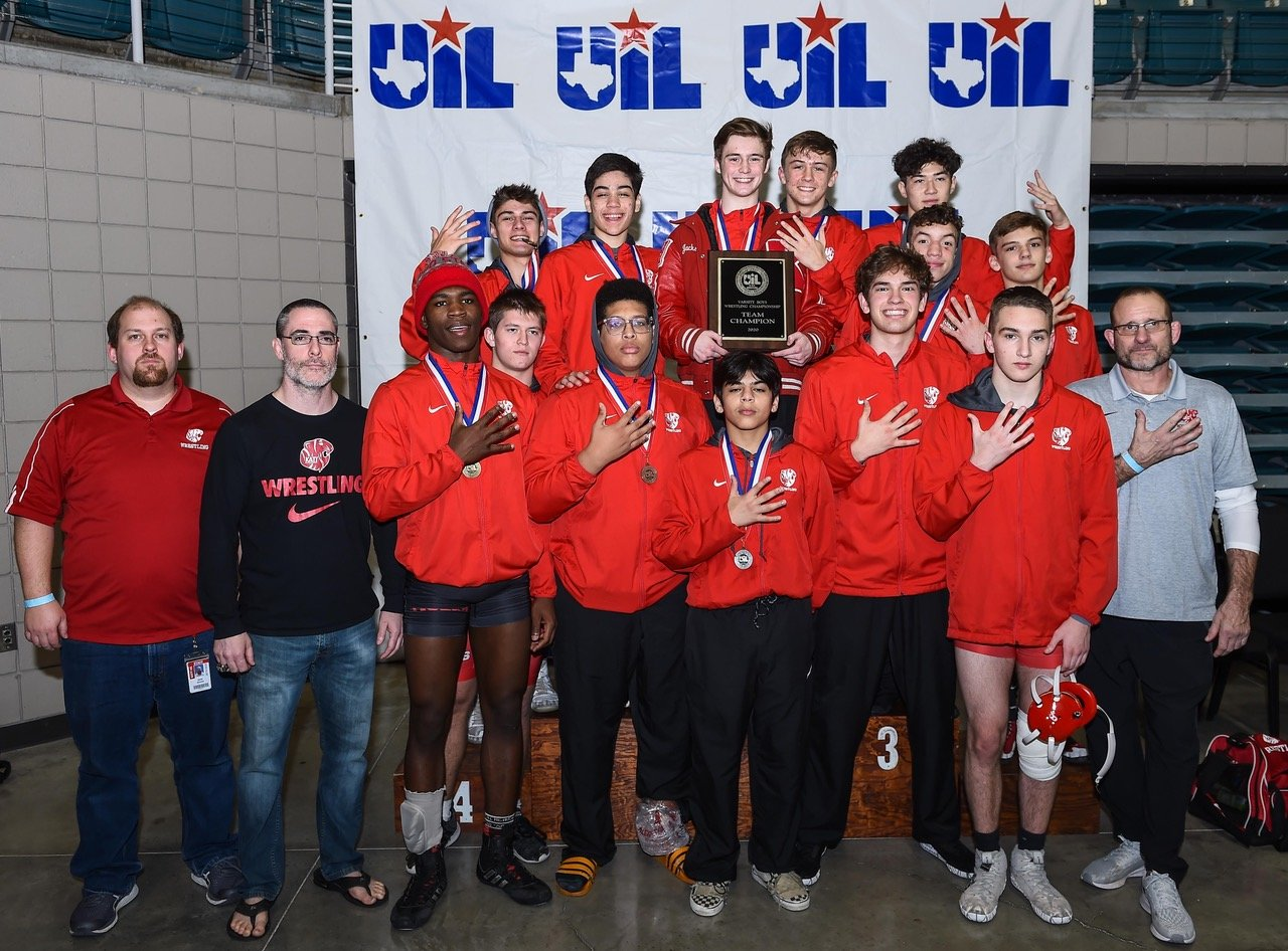 Katy High's boys wrestling team won its fifth straight district championship on Feb. 7 at the Merrell Center.