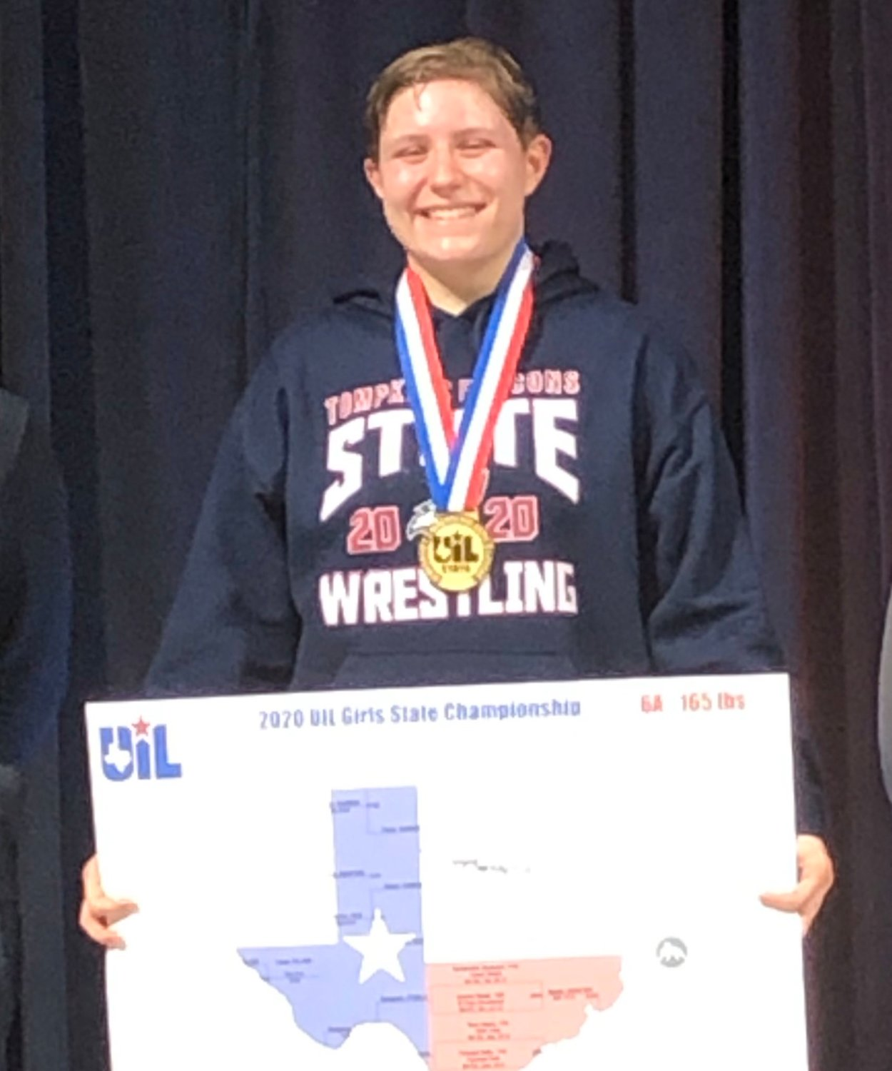 Tompkins senior Kaitlyn Bryant won her 165-pound class at the UIL Class 6A state tournament on Feb. 22 and wrapped up her season with a flawless 44-0 overall record. She is the Falcons' first wrestling state champion.