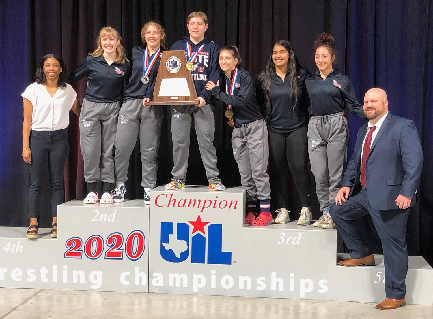 Tompkins' girls finished second overall as a team behind state champ Euless Trinity at the UIL Class 6A state tournament. The Falcons scored 75 points, 13 behind Euless Trinity.