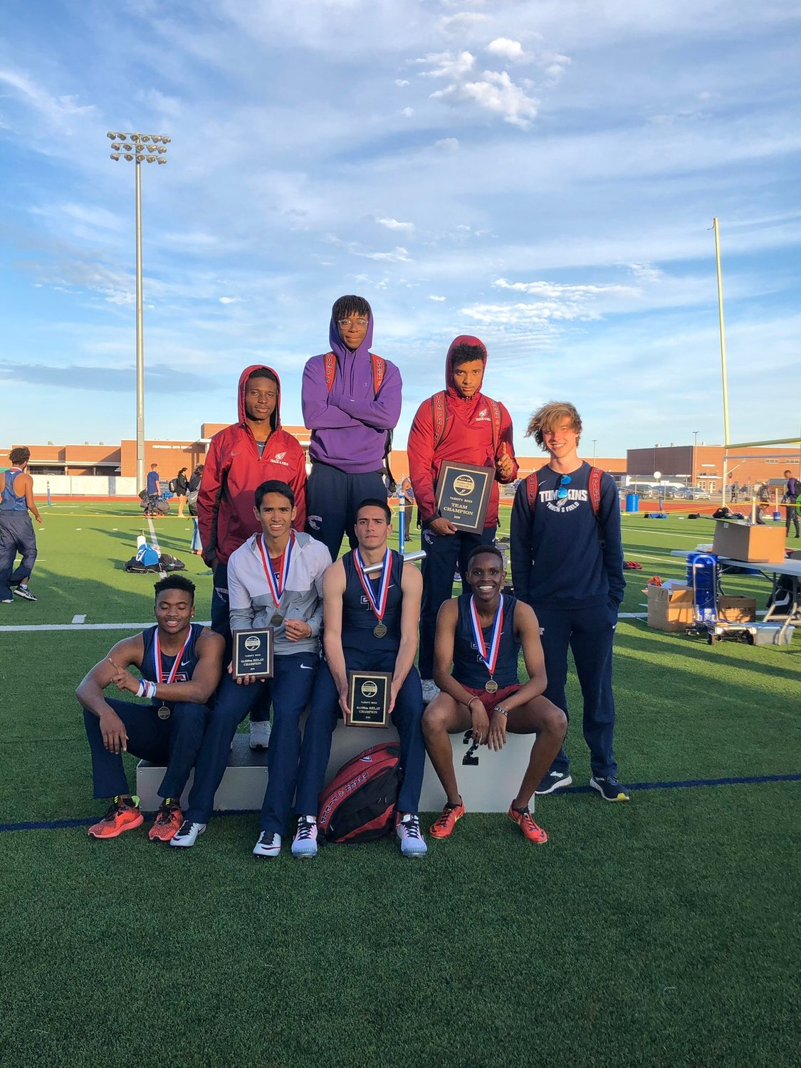 Tompkins' boys won the team championship at the Bubba Fife Relays on Feb. 29 at Paetow High, scoring 111 points in a 26-team field.