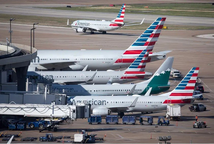American Airlines jets fill Terminal A at Dallas/Fort Worth International Airport.