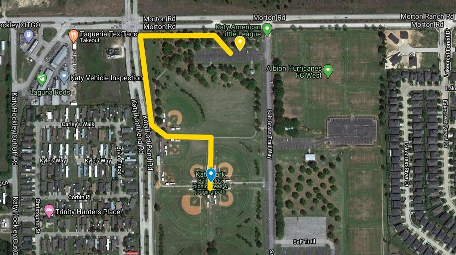 Protesters are set to gather at the parking lot with the yellow pin in the map above and work their way in a protest march along Morton Road, then south beside Katy Hockley Cut Off Road - eventually coming to a stop at the center of the baseball fields located in the park.