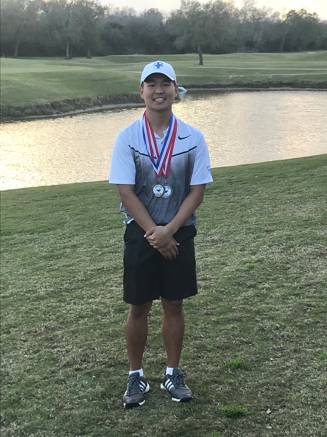 Taylor junior Kevin Kim recently earned all-area first-team honors from the Houston Area Golf Coaches Association. Pictured is Kim after taking second place from a two-day tournament at the Blackhorse Ranch Golf Course in February.
