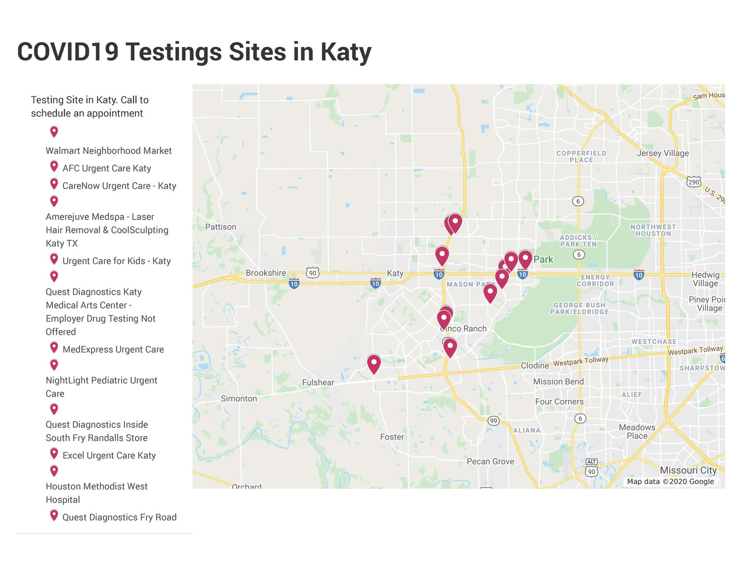 The above locations offer COVID-19 testing in the Katy area at no cost. A detailed interactive map is available at the bottom of this article.