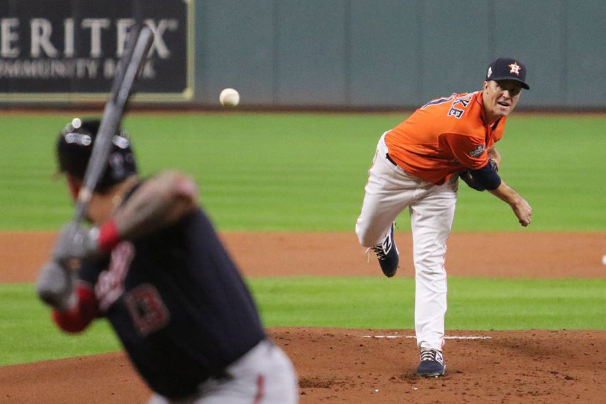 Houston Astros pitcher Zack Greinke pitches against the Washington Nationals in Game 7 of the 2019 World Series at Minute Maid Park. There will not be a regular season rematch between the two teams this year as Major League Baseball embarks on a COVID-19-shortened 60-game season.