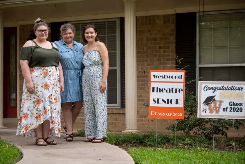 Annabelle Hicks, Ann Marie Cotman Hicks and Allison Hicks outside their north Austin home on July 1, 2020. Annabelle, a Trinity University freshman, and Allison, a University of North Texas senior, both plan to return to their respective campuses this fall.
