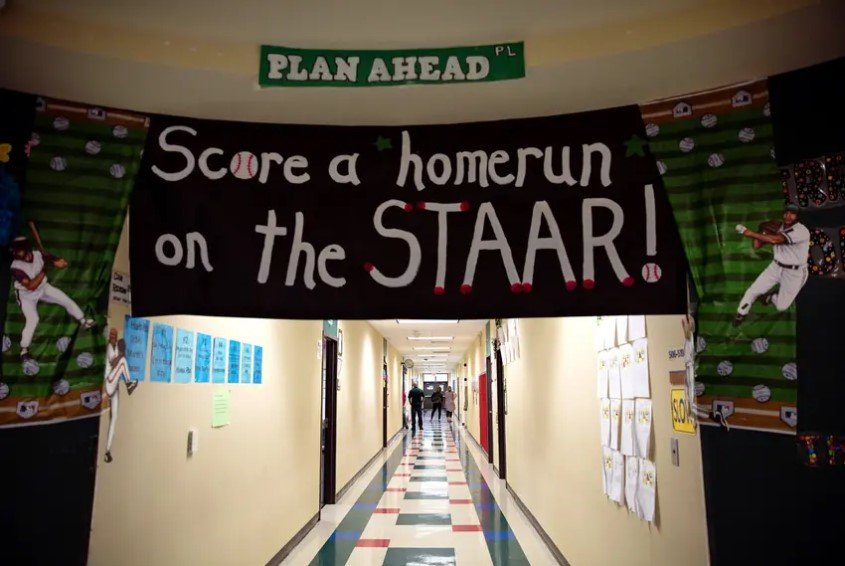 STAAR decorations adorned the hallways of Wharton Elementary School in 2018. Gov. Greg Abbott said Monday that Texas students must take the state standardized test next spring, but fifth and eighth graders can graduate without passing it.