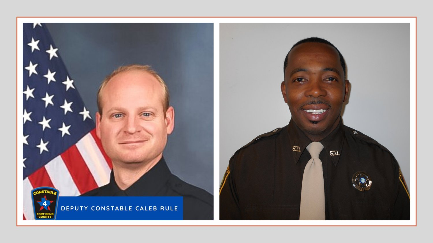 Chackwick McRae (right) has been indicted on the charge of Criminally Negligent Homicide in connection with the May 29 shooting death of Fort Bend County Constable's Deputy for Precinct 4 Caleb Rule (left).