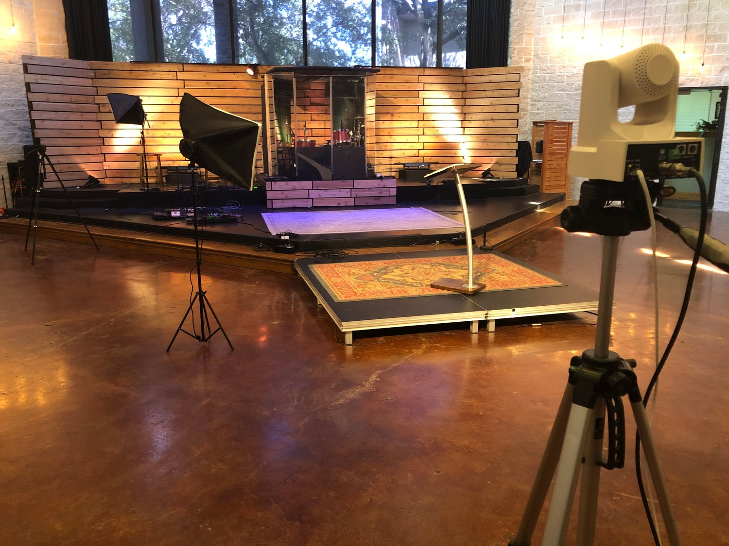Lott Hall is prepared similar to a movie set to broadcast the Contemporary worship service for St. Peter's United Methodist Church in Katy.