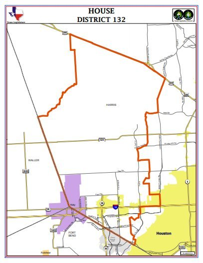 House District 132 covers the Katy area portion of Harris County and extends into the Cypress area.