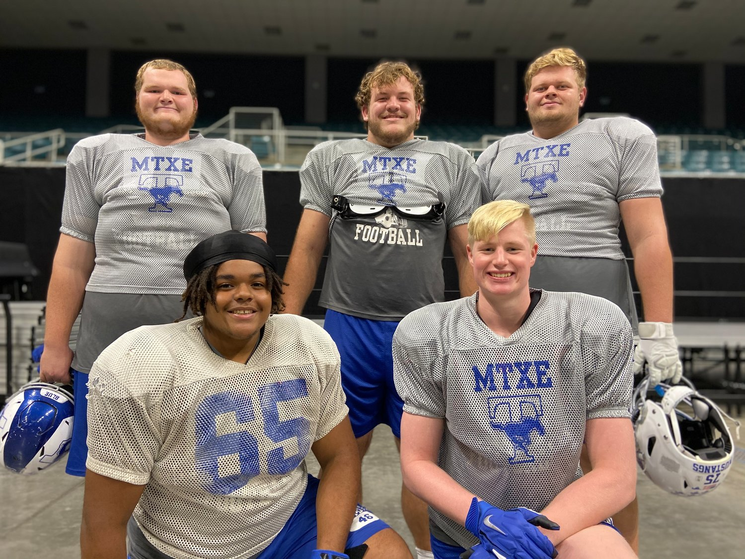 Taylor's offensive line was a major factor in its historic postseason run last year and returns three from last year's group to lead this year's squad. Pictured in the top row, from left, are recent graduate Michael Tulenko and seniors Bryce Foster and Hayden Conner. Kneeling in front, from left, are senior Abraham Okezie and recent graduate Gunnar Elliott.