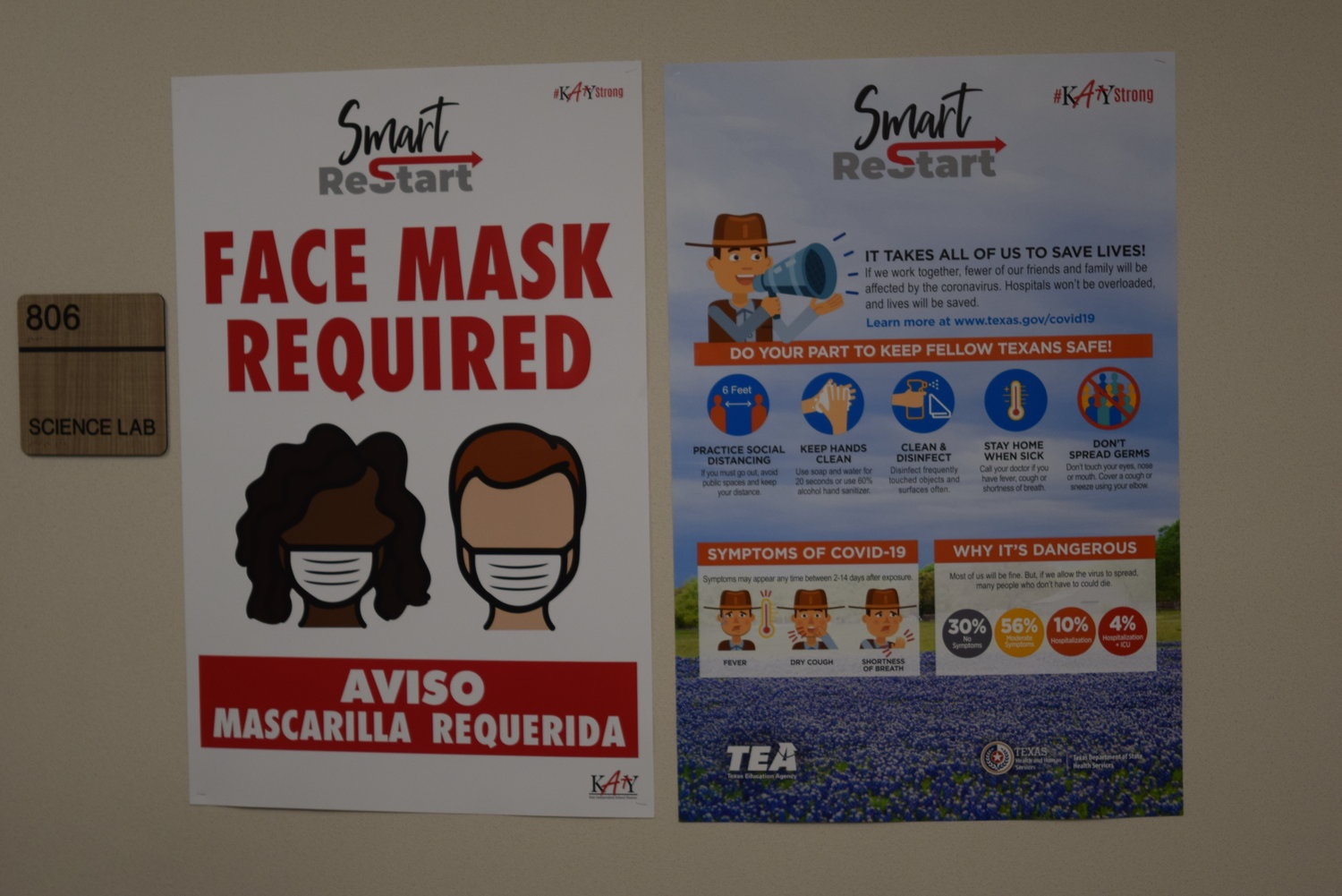 Signage throughout the halls at McElwain reminding students, staff and visitors to wear a mask and practice social distancing to mitigate the risks of spreading COVID-19. Students appeared more fascinated by the reporters covering the school opening than the masks which most seemed used to and comfortable with.