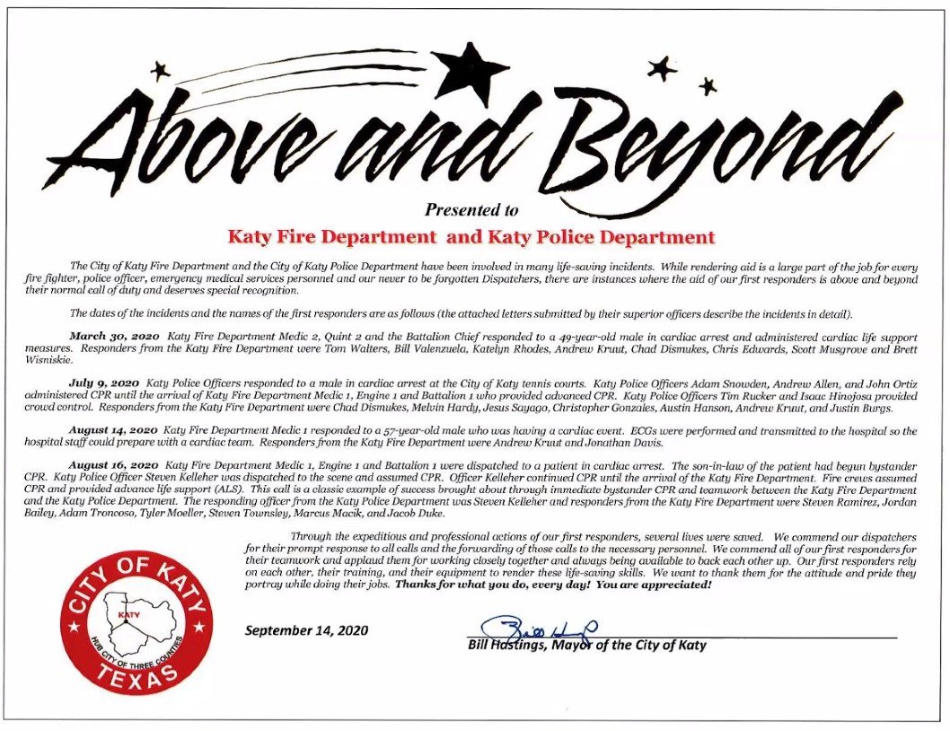 Mayor Bill Hastings issued this proclamation honoring several members of Katy's fire department, police department and 911 dispatching teams for their dedication to service during the COVID-19 pandemic.