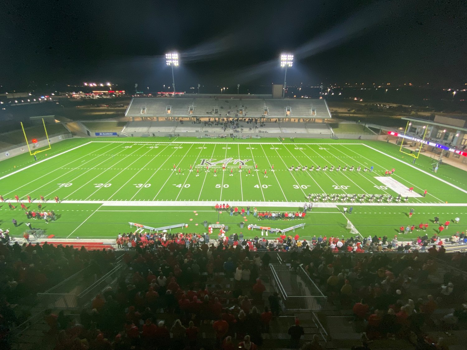Katy ISD's Legacy Stadium on game night.