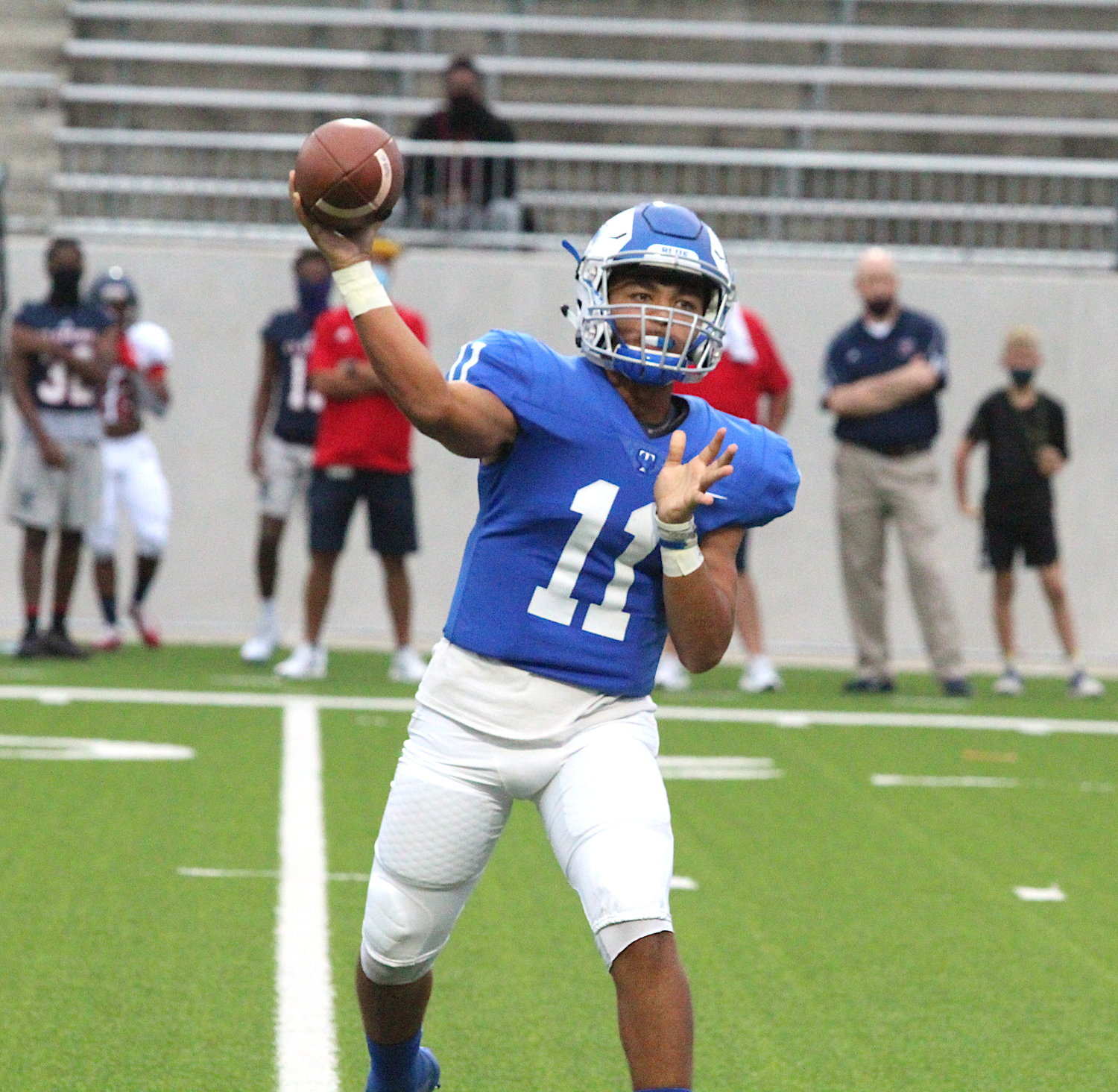Taylor senior quarterback J Jensen III completed 15 of 17 passes for 257 yards and two touchdowns and rushed for 34 yards and two more touchdowns in the Mustangs' 31-14 win over Morton Ranch on Oct. 10 at Legacy Stadium.