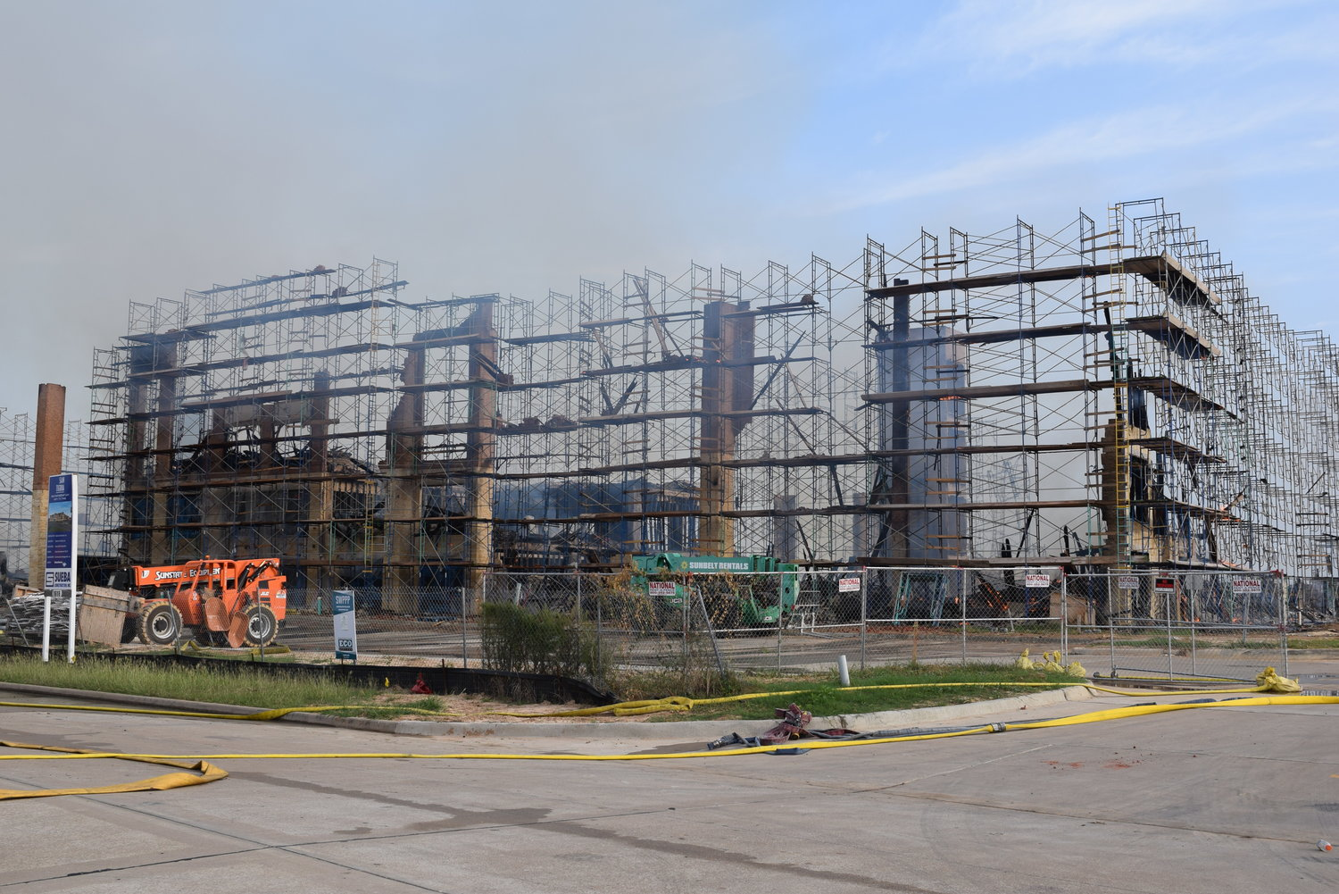 The scaffolding around the site created an obstacle for firefighters concerned about fighting the blaze safely.