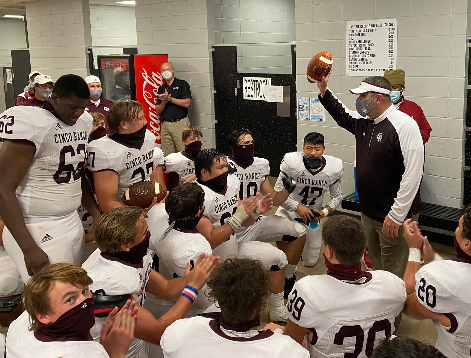 Second-year Cinco Ranch head coach Chris Dudley earned his first career head coaching win with a 21-17 decision against Mayde Creek on Oct. 16 at Rhodes Stadium.